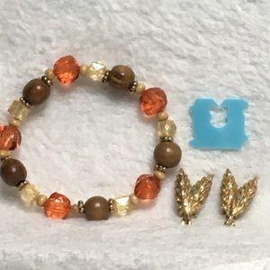 Bead Bracelet and Wheat Clip On Earrings